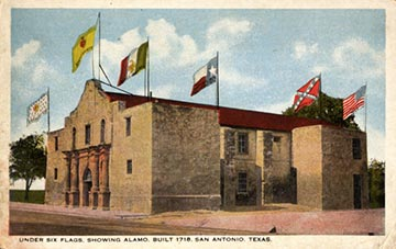 A visual representation of the 'Six Flags Under Texas' atop The Alamo.