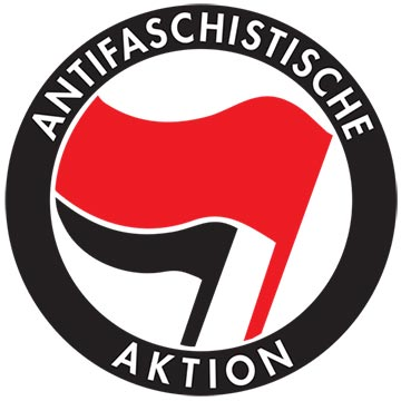 The antifa logo is an international symbol, though the accompanying text varies depending on the country in which it's found.