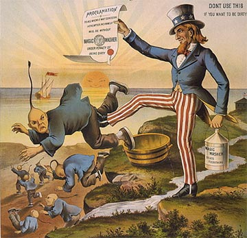 Uncle Sam dismisses Chinese migrant laborers from the American West Coast during the California Gold Rush.