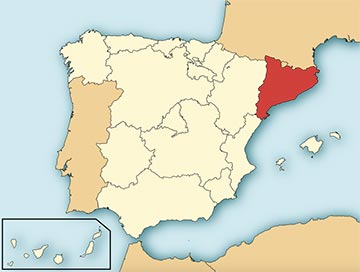 Autonomous region of Catalonia highlighted in red on map of Spain.