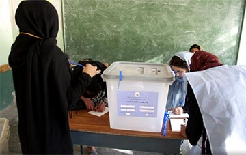 Afghan women voting in their country's presidential election