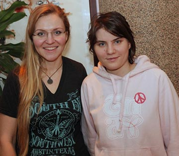 Natasha with Yekaterina Samutsevich, the third Pussy Riot member who was released early.