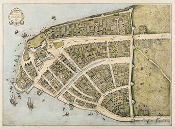 A map of New Amsterdam, the town that would grow into New York City, 1660.