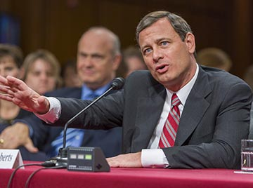 "Supreme Court Chief Justice John Roberts Jr. is now a potential ""swing"" vote in 5-4 decisions."