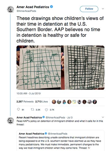 The American Academy of Pediatricians released drawings by children, depicting their experiences as detainees on the border with Mexico