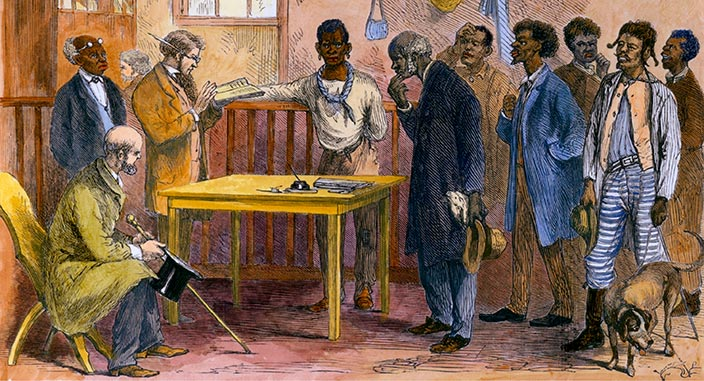 Freedmen at a voter registration office, Macon, Georgia in 1867. The Civil Rights Voting Act of 1965 eliminated literacy tests for voting.