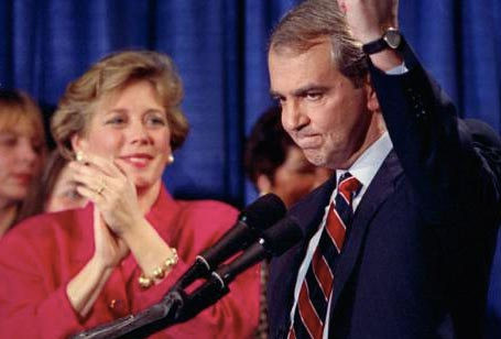 Sen. Paul Tsongas celebrates winning the 1992 New Hampshire primary.