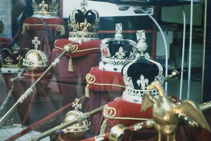 A store window display in London with crowns and scepters to celebrate the marriage of Prince Charles and Princess Diana in 1981.