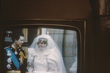 The televised broadcast of Prince Charles and Princess Diana's wedding in 1981.