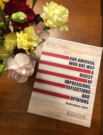 """""""Our America: Who Are We? A Digest of Impressions, Reflections and Opinions"""" edited by Sondra Myers."""